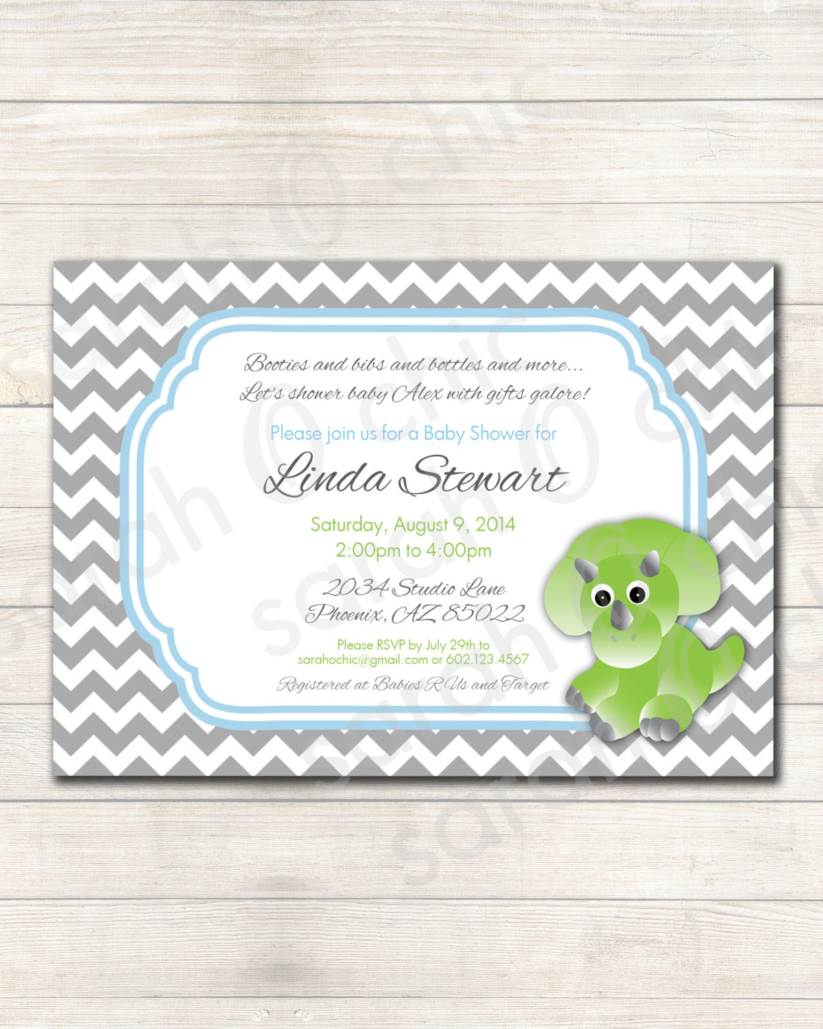 dinosaur baby shower invitation colors customizable