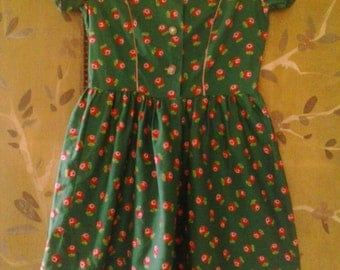 80s handmade green dress with rose print and vintage buttons