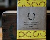 Golden Horseshoe - Hand silk-screened 100% Cotton Hanky, Horseshoes and Hand Dyed Yellow handkerchief