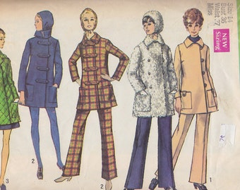 1969 Mod Car Coat, Bell Bottom Pants, Hood Vintage Pattern, Simplicity 8451, Single or Double Breasted, Collar, Patch Pockets, Button Tabs