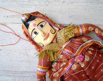Folk Art India Woman Wall Puppet, Vintage Asian Tribal colorful Wood and Fabric Female Saree dressed Doll, Collectible India East Culture