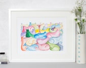 Colourful Cats Print, Cats Illustration, Colourful Quilt of Cats 12 x 16, A3 Print