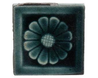 Antique blue flower fire place tile