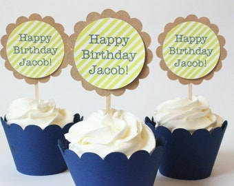 Boy Birthday Party Custom Cupcake Toppers Lime Green and Navy Blue Stripes Cupcake Toppers Boy Baby Shower Lime Party Supplies / Set of 12