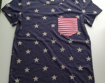 Women's Navy and White Star Shirt with Red and White Striped Pocket