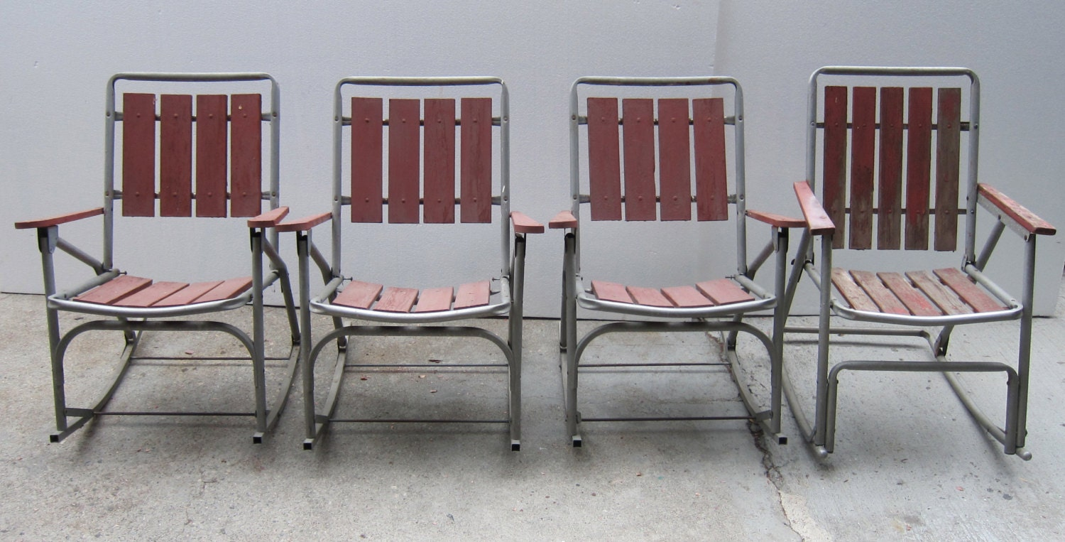 Vintage Folding Red Rocking Patio Chairs