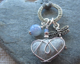 Silver Charm Necklace with Beach Heart Wire Wrapped in Silver with Gorgeous Sky Blue Gemstone and Dragonfly Charm Yoga Jewellry Boho Chic
