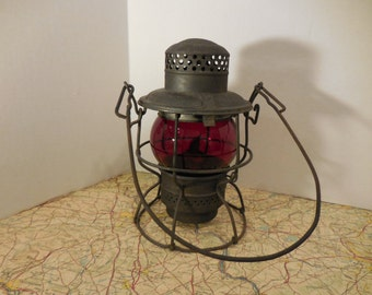 Vintage Adlake Kerosene Lantern with Red Globe