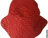 Christmas Unisex Bucket Hat | Merry Christmas Text | Red Hat | Red Chrsitmas Hat by Hamlet Pericles