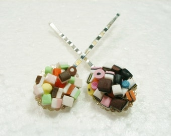 Dolly Mixture And Licorice Allsorts Hair Grips Bobby Pins. Polymer Clay.