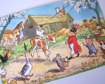 The Farmyard Circus MOLLY BRETT Postcard - Unused PC  - Medici Society - 1970s