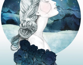 Frozen Watercolour Illustration giclée Print
