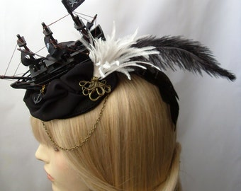 Ship Marie Antoinette Ship Octopus Headdress Fascinator Steampunk Gothic Victorian bronze black