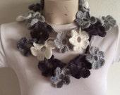 Crochet Flower Scarf in Gray Tones