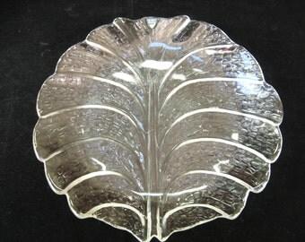 Orrefors Sweden EDEN Round Glass Leaf Dinner Plate Dish  or Platter w/ Label - Lars Hellsten Mid Century
