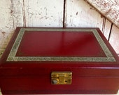 Vintage Jewelry Box Dark Red Gold Tooled Edge Leather Jewelry Box Chest