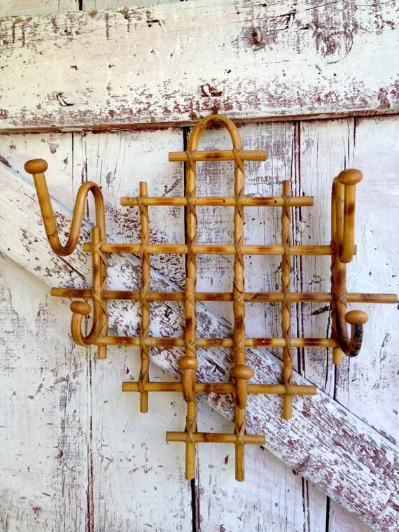 Vintage Bamboo Hat Coat Rack Hanger Rattan Wall Hanger With