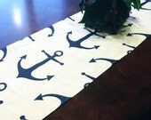 """Table Runner - 12 x 48"""" Nautical Anchor Table Runners - Nautical Table Runners For Weddings or Home Decor"""