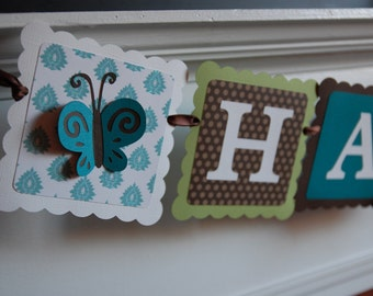 Name Banner, Butterfly Name Banner, Butterfly Party Supplies, Butterfly Nursery, Birthday, Decorations, Teal Sage Chocolate