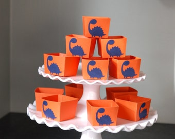 Dinosaur Candy Cups, Dinosuar Party Decorations, Dinosaur Birthday Party, 12 Pcs, Orange with Navy Dinosaurs