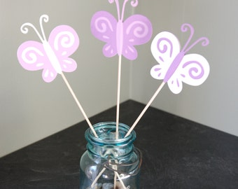 Butterfly Centerpieces, 9 Pieces, First Birthday, Butterfly Birthday, Purples and White