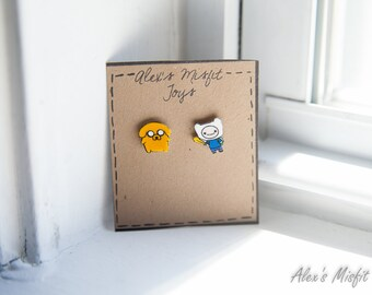 Adventure Time Finn and Jake Post Earrings