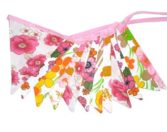 RETRO Vintage Bunting - FLOWER POWER Pink / Orange / Green Flag . Birthday Party, Shop Window / Market Stall Decoration . Made in Australia