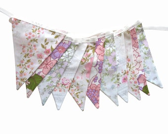 Vintage Wedding Bunting - Retro  Pink / Green / Purple Floral & Doily Lace, Floral Flags.  HANDMADE . High Tea, Parties, Garden Party