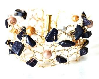 Gold Bracelet - Gold Cuff - Knit Gold Cuff - Knit Metal Cuff - Knit Metal Jewelry - Wedding Bracelet - Wedding Cuff - Mesh Metal Cuff