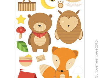 Woodland Animal Craft Cut Ups Digital Download Curious Critters