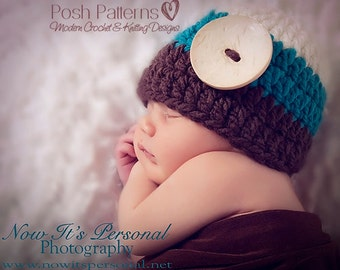 Crochet PATTERN - Easy Button Beanie Crochet Hat Pattern - Includes Baby, Toddler, Child, Kids, Adult Sizes - Photo Prop Pattern - PDF 179