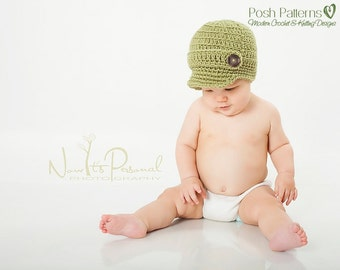 Crochet Pattern - Baby Crochet Pattern - Newsboy Hat Pattern - Crochet Hat Pattern - Includes 6 Sizes Newborn to Adult - PDF 166