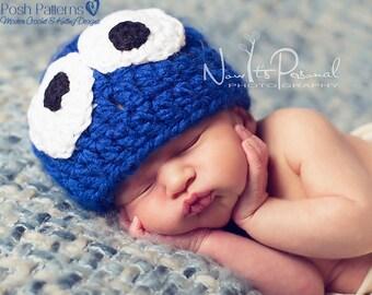 Crochet PATTERN - Crochet Hat Pattern - Crochet Monster Hat Pattern - Includes 6 Sizes Newborn to Adult - Photo Prop Pattern - PDF 283