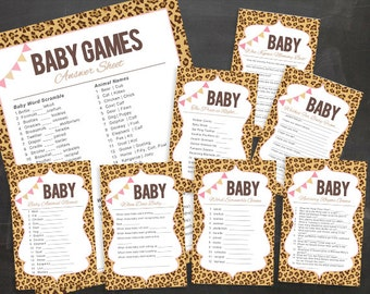 Leopard Baby Shower PRINTABLE Games for Girl Pink Tan Brown Package 2.0