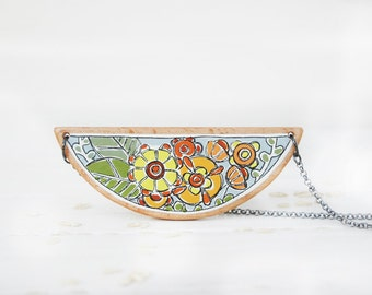 Statement Floral Necklace Colorful Flower Necklace Mountain Necklace  Wood Necklace Yellow