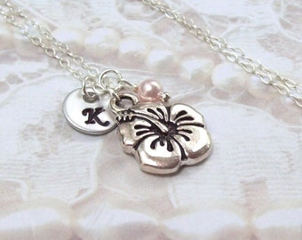 Hibiscus Necklace, Personalized Necklace, Sterling Silver Flower Necklace, stamped, initial, summer, garden, spring fashion, floral