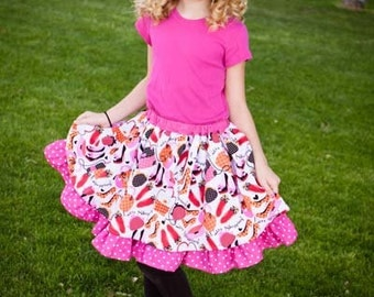 Antoinette's Tween Double Layer Twirly Skirt PDF Pattern sizes 7/8 to 15/16