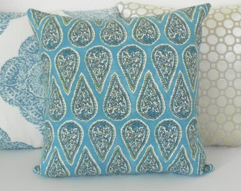 Double sided, Aqua blue paisley floral geometric decorative pillow cover