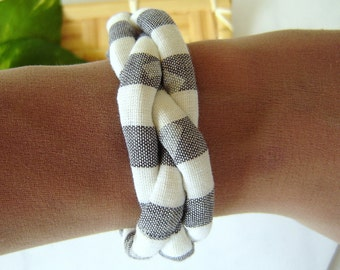 Fabric Bracelet - Gray and White Striped Braided Cuff