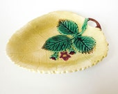 Country Chic - Antique Majolica Leaf Dish or Tray with 1882 Note - Yellow & Green - Botanical Nature Theme Decor - Mother's Day Gift