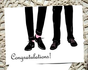 Gay Card Greeting boyfriend Congratulations gift thinking of you Pink Black silhouette man men wedding