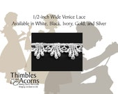 5 yards 1/2 inch Venice Lace in Black, White, or Gold - Style B