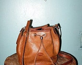 Vintage Longchamps Crossbody Brown Leather Drawstring Bag