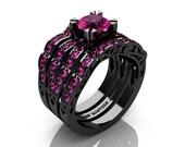 Modern Vintage 14K Black Gold 1.0 Carat Pink Sapphire Solitaire Ring Double Wedding Band Bridal Set R322S2-14KBGPS