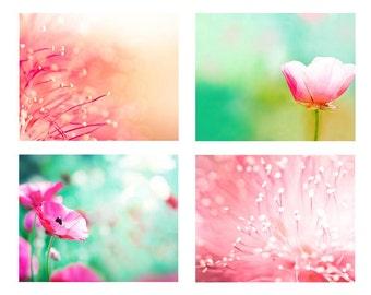 floral photography print set botanical photography 8x10 8x12 fine art photography nature pink pastel flower photography bedroom decor