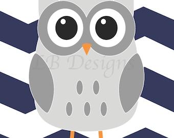 Owl Nursery Print, Navy Blue and Gray Nursery, Woodland Nursery Print, Owl Nursery Decor, Woodland Bedroom Decor - 8x10