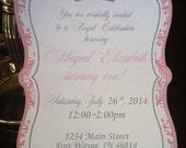 Pink Princess Crown Damask Custom Birthday Baby Shower Invitations