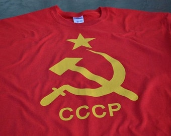 CCCP T shirt Hammer Sickle Red communist Russia tshirt women men youth ladies ussr communism symbol short sleeved tee