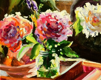 FLEURS DE JARDIN, Art Print of original oil  painting by CeciliaRosslee,roses in mason jar, coffee table, wooden tray