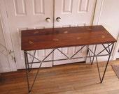 Rustic Industrial Side Table Custom Sofa Rebar Table Inlaid Copper Ginkgo Leaves